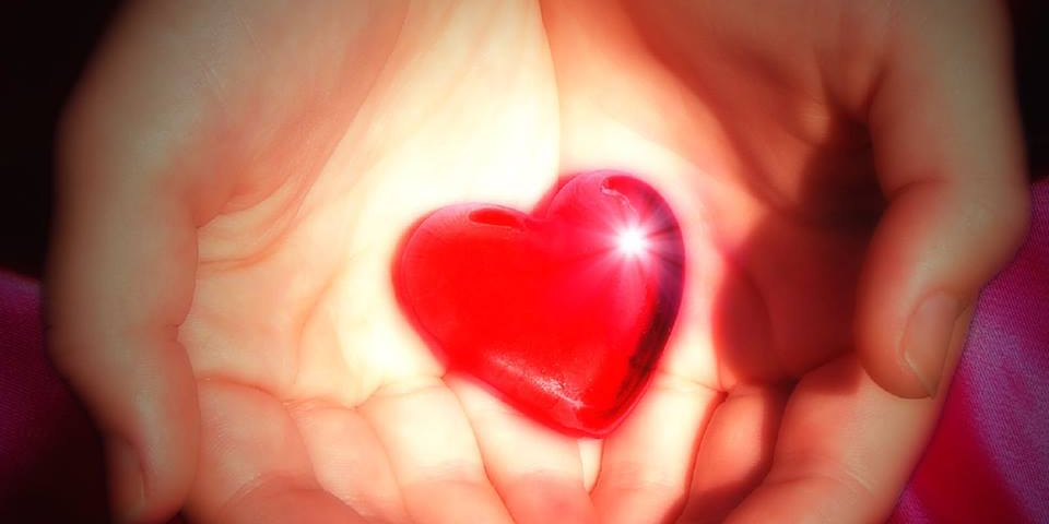 Hands gently holding a heart.